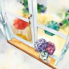 窓辺の雨音