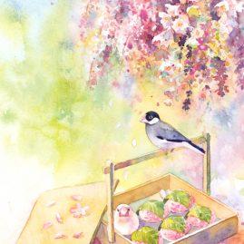 お花見文鳥